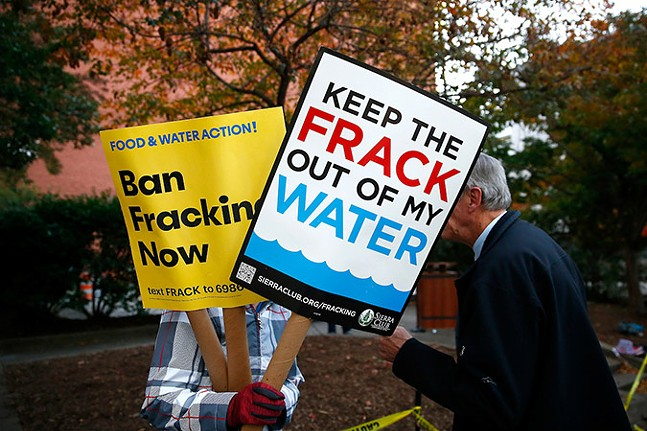 Anti-fracking protesters outside the David L. Lawrence Convention Center during President Trump's visit to a natural gas convention in October 2019 - CP PHOTO: JARED WICKERHAM