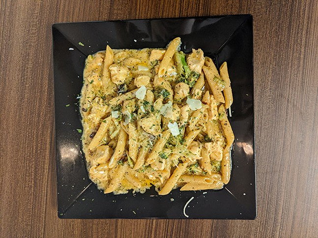 The Timmy (chicken, bacon and broccoli pasta with alfredo sauce) at Soul & Sea - CP PHOTO: MAGGIE WEAVER