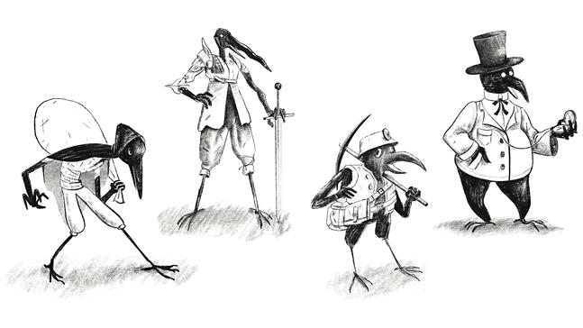 "The ""ravenfolk"" of Beak, Feather, & Bone. - ART BY AUSTIN BREED"