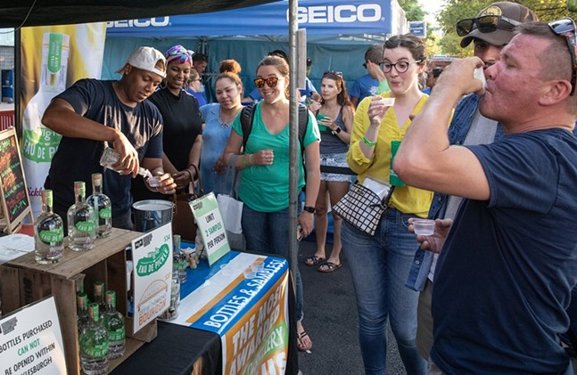 Sampling Wigle's Eau de Pickle whiskey at Picklesburgh. - PHOTO: RENEE ROSENSTEEL FOR THE PITTSBURGH DOWNTOWN PARTNERSHIP
