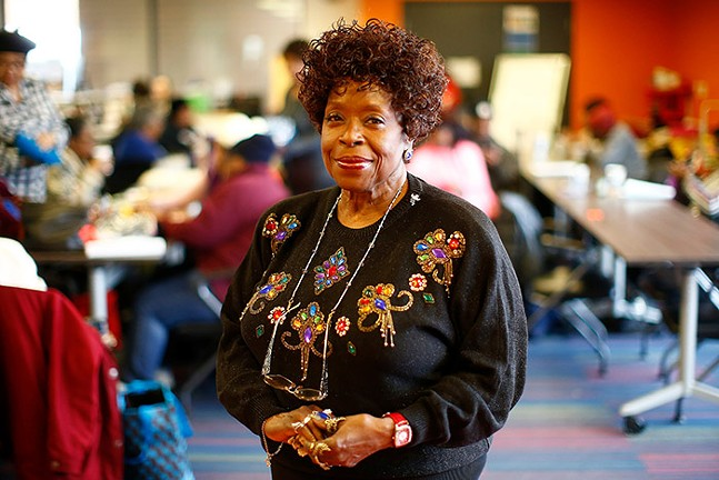 Irma Coy poses for a portrait at the Thelma Lovette YMCA in the Hill District. - CP PHOTO: JARED WICKERHAM