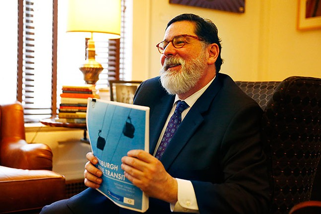 Mayor Bill Peduto discusses the Green New Deal in his office on Wed., Feb. 12. - CP PHOTO: JARED WICKERHAM