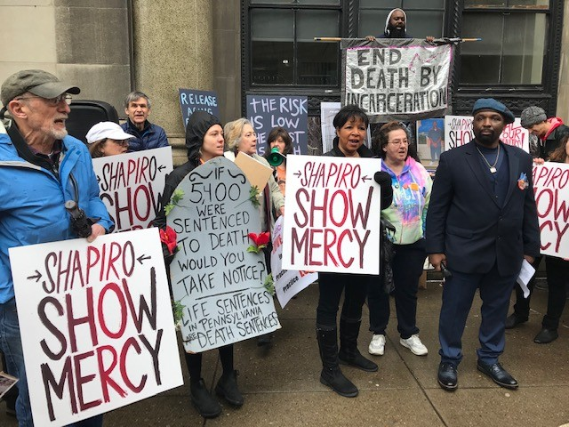 Protesters in front of Josh Shapiro's Pittsburgh office in Downtown - CP PHOTO: RYAN DETO