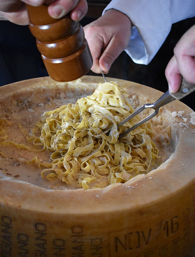Cheese grated on pasta at Spork Pittsburgh - PHOTO: SEAN ENRIGHT