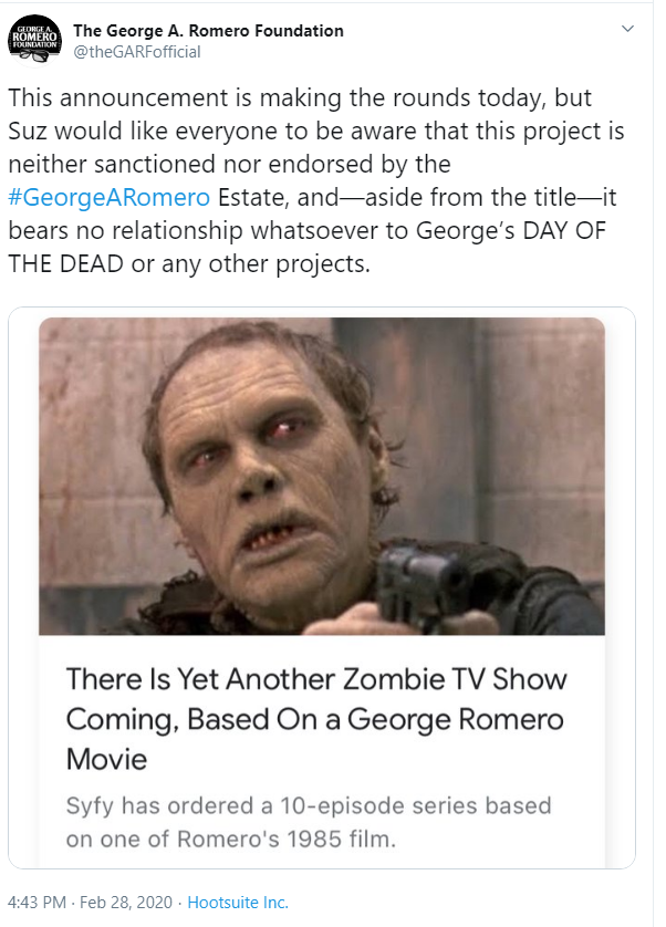Twitter statement from The George A. Romero Foundation on Day of the Dead TV series, Feb. 28, 2020 - SCREENSHOT