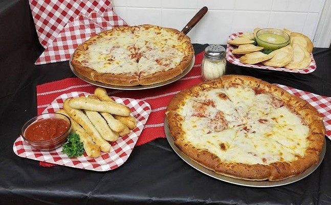 Pizza, breadsticks, and pierogies from Mama P's - PHOTO: MAMA P'S PIZZA