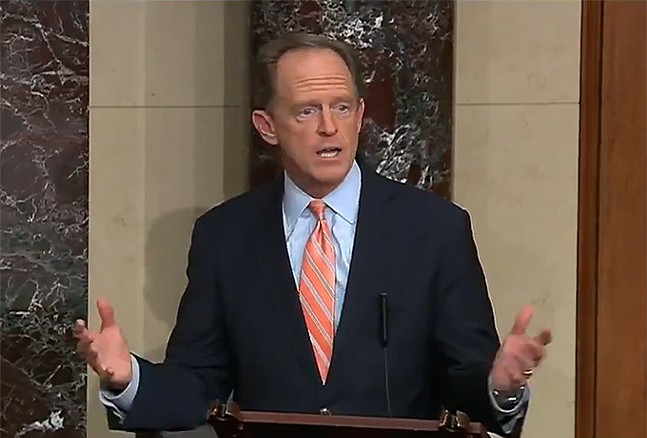 Sen. Pat Toomey (R-Lehigh) makes a statement on Mon., March 23. - SCREENSHOT FROM SEN. PAT TOOMEY'S VIDEO