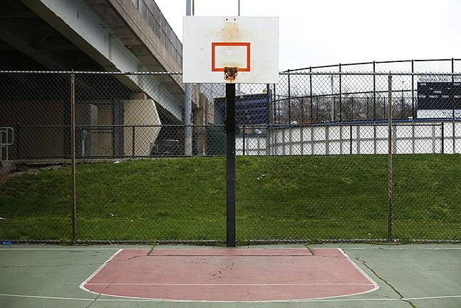 Rims have been removed from basketball backboards at a basketball court in Bloomfield. - CP PHOTO: JARED WICKERHAM