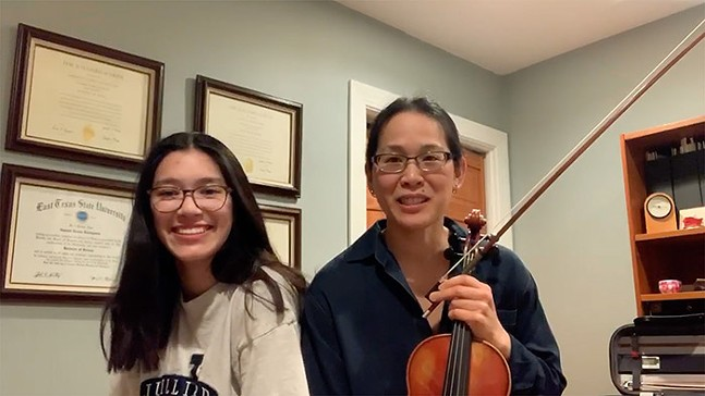 "Ellen Chen-Livingston, Violin, with daughter, screenshot from video submission for ""Bright Spots."""