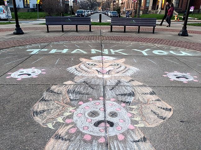 A chalk mural thanking nurses behind West Penn Hospital - CP PHOTO: LISA CUNNINGHAM