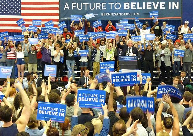 Sen. Bernie Sanders at a rally during his 2016 presidential campaign - CP PHOTO: RYAN DETO