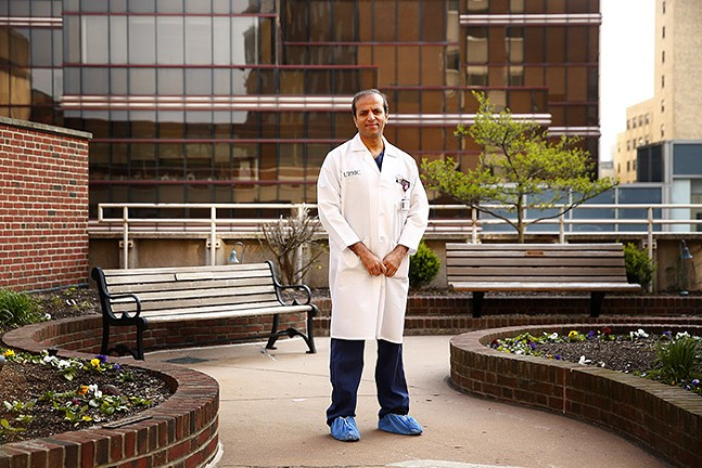 Dr. Abhi Humar poses for a portrait outside of UPMC Montefiore hospital in Oakland on Fri., April 17, 2020. - CP PHOTO: JARED WICKERHAM