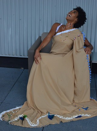 Model Ronnell Kitt wearing Maker As One project gown - PHOTO: TERENEH IDIA
