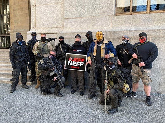 """A photo, shared with Pittsburgh City Paper by an anonymous source, of Jeff Neff at the """"Take Back Control"""" rally in Downtown Pittsburgh on Mon., April 20."""