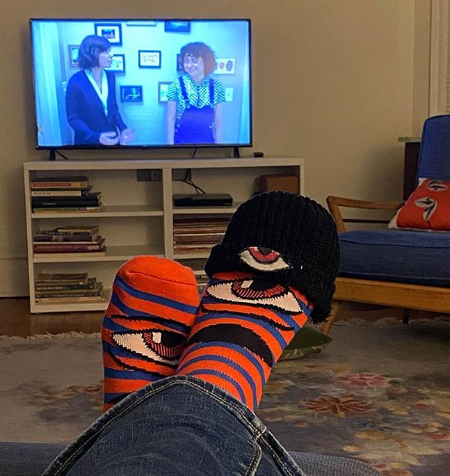 Maya Haptas with her Toy Machine socks at home - PHOTO: MAYA HAPTAS