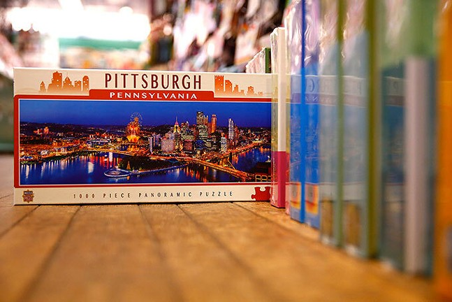 A 1000-piece Pittsburgh skyline puzzle for sale at Kards Unlimited - CP PHOTO: JARED WICKERHAM