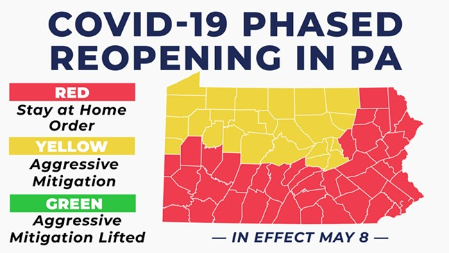 Gov. Wolf's map of COVID-19 Phased Reopening in PA