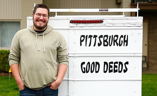 Jon Potter, of Pittsburgh Good Deeds, poses for a portrait near his home on Sun., May 3, 2020. - CP PHOTO: JARED WICKERHAM
