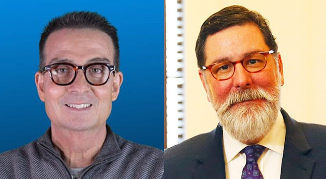 Marty Griffin and Pittsburgh Mayor Bill Peduto - PHOTOS: OFFICIAL KDKA RADIO PORTRAIT (LEFT) AND CP PHOTO: JARED WICKERHAM