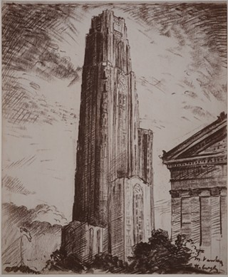 Sketch of the Cathedral of Learning from the Vanka Collection. - SOCIETY TO PRESERVE THE MILLVALE MURALS OF MAXO VANKA