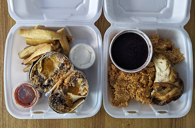 Chicken burrito, yucca, and chicken with rice and beans from Chicken Latino - CP PHOTO: MAGGIE WEAVER
