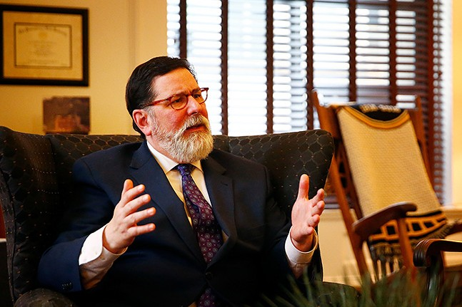 Mayor Bill Peduto inside his office at the City County Building in February - CP PHOTO: JARED WICKERHAM