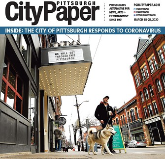 The March 18 cover of Pittsburgh City Paper, featuring Row House Cinema's marquee - CP PHOTO: JARED WICKERHAM