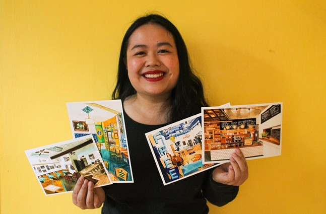 Sophia Fang with postcards from her Painting Main project - PHOTO: SOPHIA FANG