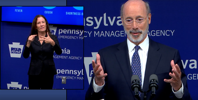 Gov. Tom Wolf addresses reporters during an online press conference on Fri., May 29. - SCREENSHOT