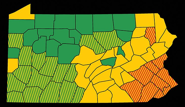 On Fri., June 5, 16 additional Pennsylvania counties (shown here in yellow-and-green stripes) will move to the green phase, and the remaining red counties (shown here in yellow-and-red stripes) will move to the yellow phase