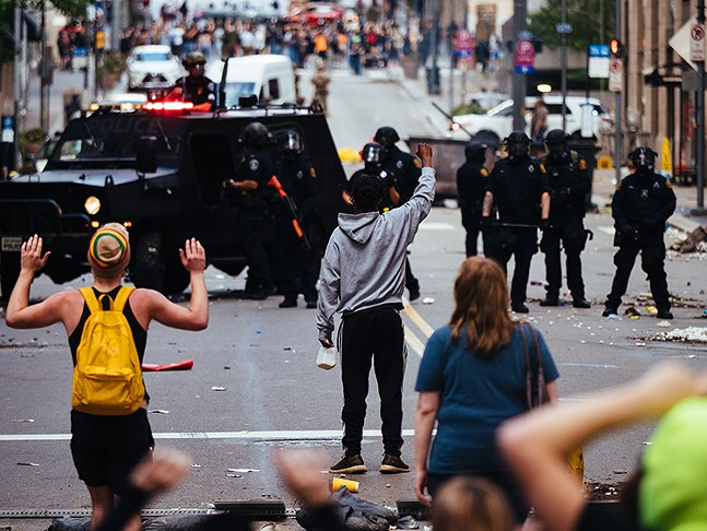The scene in Downtown Pittsburgh on Sat., May 30. - CP PHOTO: JARED MURPHY