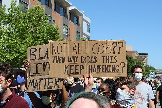 Pittsburghers marched through East Liberty on Mon., June 1, to protest police brutality - CP PHOTO: JORDAN SNOWDEN