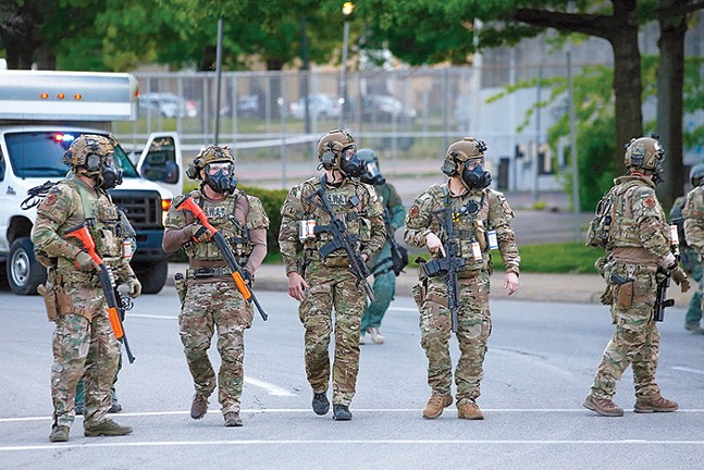 SWAT officers near the intersection of Centre and Negley avenues following a protest in East Liberty on Mon., June 1 - CP PHOTO: JARED WICKERHAM