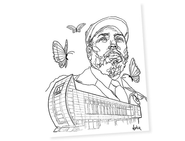Natiq Jalil's August Wilson coloring book illustration for Pittsburgh City Paper's Over-the-top Completely Ridiculous Yinzerrific Coloring Book