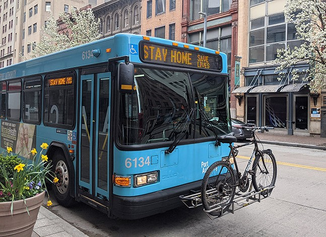 A Port Authority bus in Downtown Pittsburgh - CP PHOTO: LISA CUNNINGHAM