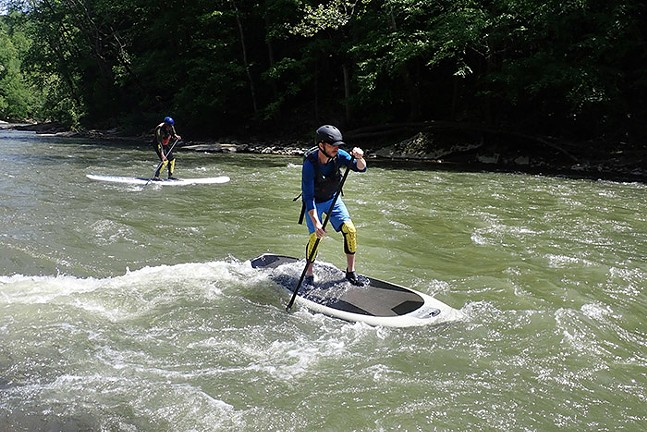 Jared Wickerham on the board at Connoquenessing Creek in Ellwood City - PHOTO: IAN SMITH/SURFSUP ADVENTURES