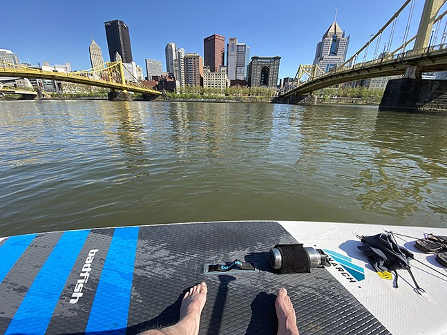 A view of Downtown Pittsburgh from a paddleboard - CP PHOTO: JARED WICKERHAM