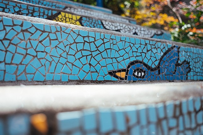 Mosaic steps in Pittsburgh's South Side by artist Laura Jean McLaughlin - CP PHOTO: JARED MURPHY