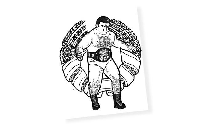 Brian Gonnella's coloring book page of Bruno Sammartino
