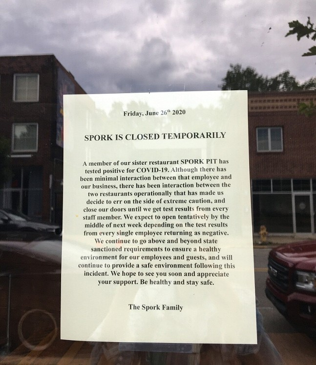 Closure notice at Spork placed after Spork Pit employee tested positive for coronavirus - CP PHOTO: HANNAH LYNN