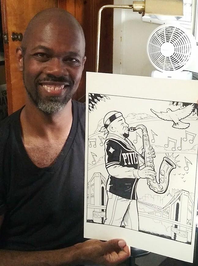 Marcel Walker and his illustration of Reggie Howze
