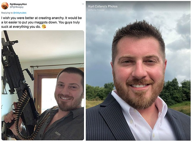 Tweet from @PghBoogey on June 2 (left) and a photo of Kurt Cofano shared on Facebook in July 2018 - SCREENSHOT TAKEN FROM TWITTER AND FACEBOOK