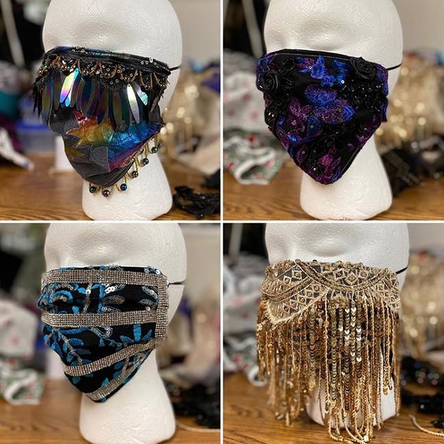 Custom Vegas-themed masks - PHOTO: KATI GRIMES