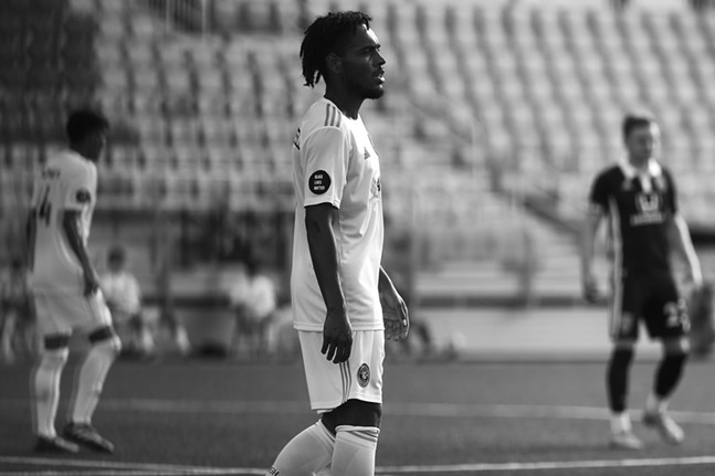 Thomas Vancaeyezeele #17 of the Pittsburgh Riverhounds wears a Black Lives Matter patch while playing against Indy Eleven at Highmark Stadium. - CP PHOTO: JARED WICKERHAM