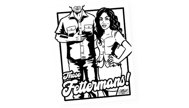 D.J. Coffman's illustration of John and Gisele Fetterman for Pittsburgh City Paper's Over-the-top Completely Ridiculous Yinzerrific Coloring Book
