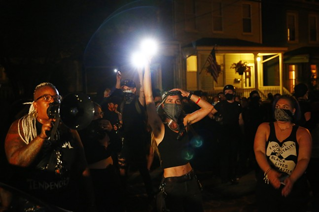 Protesters outside Mayor Bill Peduto's house in Point Breeze on Tue., Aug. 18. - CP PHOTO: JARED WICKERHAM