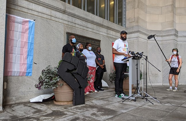 Dalen Michael addresses the crowd during the 2021 Pittsburgh Pride announcement at the City County Building on Mon., Aug. 24, 2020. - CP PHOTO: AMANDA WALTZ