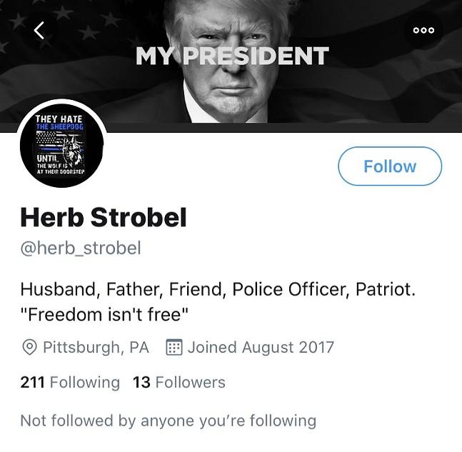 Herb Stobel's Twitter account profile - SCREENSHOT TAKEN FROM TWITTER