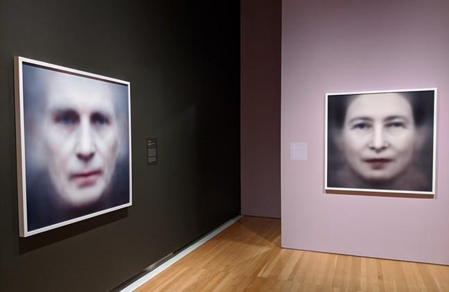 (Even the Dead Are Not Safe) Eigenface prints of Samuel Beckett (left) and Simone de Beauvoir (right) at CMOA's Trevor Paglen: Opposing Geometries exhibit - CP PHOTO: AMANDA WALTZ