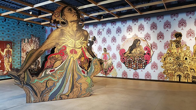 The Heart Lives Through the Hands, an exhibit of work by Swoon now showing at Contemporary Craft - PHOTO: SWOON